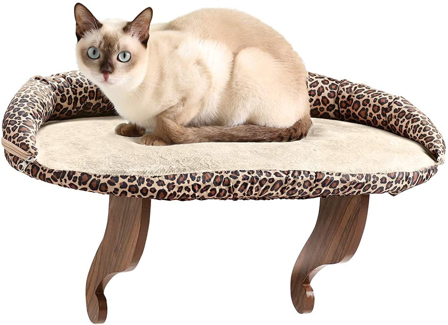 Luxury Leopard Print Wood Kitty Window Perch with Bolster