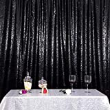 Eternal Beauty Satin Sequin Backdrop Curtain, Glittery Photography Backdrops, Thick Non-Transparent Shiny Party Sequin Curtain (Black,10Ft x 10Ft)
