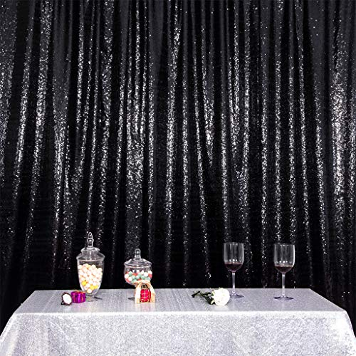 Eternal Beauty Satin Sequin Backdrop Curtain, Glittery Photography Backdrops, Thick Non-Transparent Shiny Party Sequin Curtain (Black,6Ft x 6Ft)