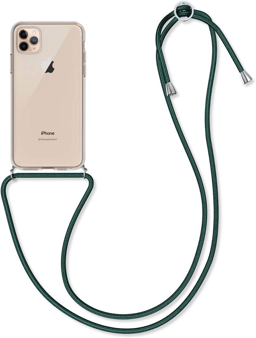 kwmobile Funda con Cuerda para Apple iPhone 11 Pro MAX - Carcasa Transparente de TPU con Colgante en Transparente/Verde Oscuro