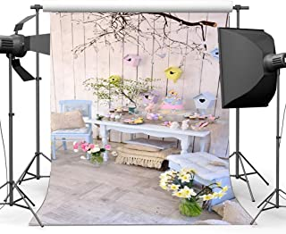 Gladbuy Happy Easter Backdrop 5X7FT Vinyl Eggs Hunts Backdrops Fresh Floral Bunny Birdcage Spring Frohe Ostern Photography Background for Kids Celebrate Resurrection of Jesus Photo Studio Props EB242