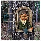 1 Stück Garten GNOME Statue Elf Aus Die Tür Baum Hugger Ornament, Gartenzwerge Wetterfest Garten GNOME Statue, GNOME Baum Fensterharz Garten Figuren, Baum Skulptur Garten Dekoration (A)