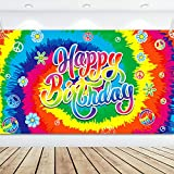 Tie Dye Birthday Banner 60's Theme Happy Birthday Backdrop Hippie Birthday Party Decorations Groovy Sign Rainbow Birthday Backdrop for Birthday Anniversary Party Background, 70.8 x 43.3 Inch
