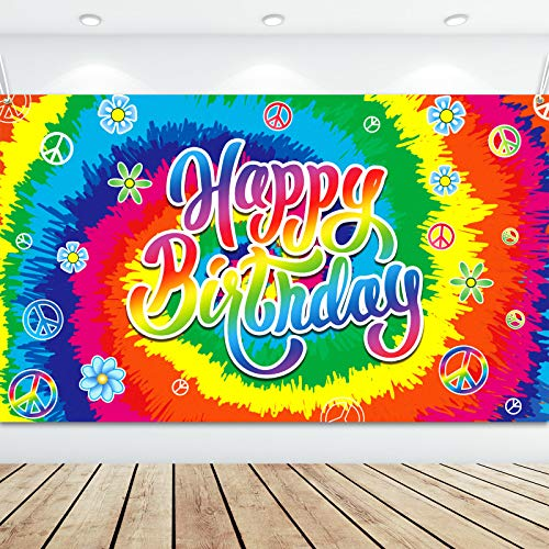 Boao Bannière d'Anniversaire Tie Dye Été Toile de Fond de Joyeux Anniversaire des Années 60 Décors d'anniversaire Hippie Signe Groovy Toile de Fond Anniversaire Arc-en-Ciel, 70,8 x 43,3 Pouces