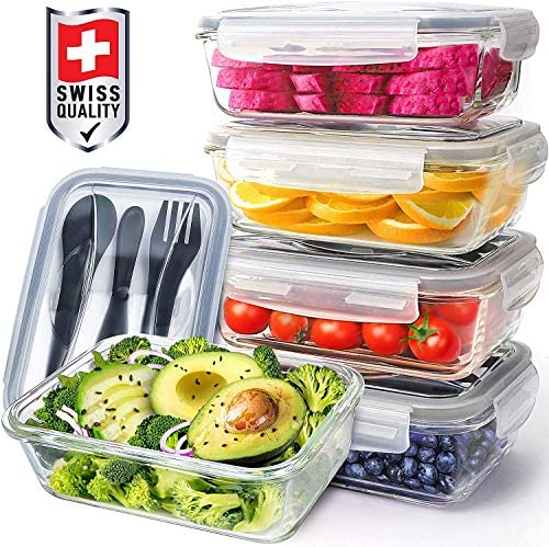 Pohl Schmitt Glass Meal Prep Containers Food Prep with Lids and Utensils Meal Prep Food Storage product image