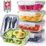 Pohl+Schmitt Glass Meal Prep Containers - Food Prep with Lids and Utensils, Meal Prep - Food Storage...