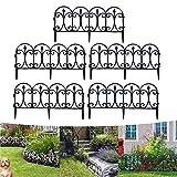 ZOVCO Valla decorativa para jardín con borde de alambre plegable y acoplable, color negro, para patios, parterres, perros, barreras, borde exterior, jardín