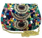Gauri Arte indio antiguo hecho a mano multicolor piedra mosaico metal bolsa mujeres/niñas de metal nupcial embrague bolsa de tira de fiesta