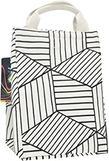 HKEC Reusable Lunch Bag Insulated Lunch Box Cute Canvas Fabric with Aluminum Foil, Lunch Box Tote for Women/Picnic/Boating/Beach/Fishing/Work(White Stripe)