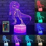 GreatestPAK LED 3D Beleuchtete Lampe Dinosaurier Kinder Nachtlampe Optische TäUschung Schreibtisch Nachtlicht Mit Fernbedienung Haushalt Urlaub Dekorationen