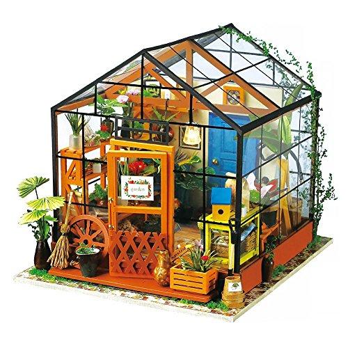 rebirthesame Kit de muebles en miniatura de madera para casa de muñecas de Cathy, casa verde con LED, los mejores regalos de cumpleaños para mujeres y niñas 19,5 x 17,5 x 17,5 cm