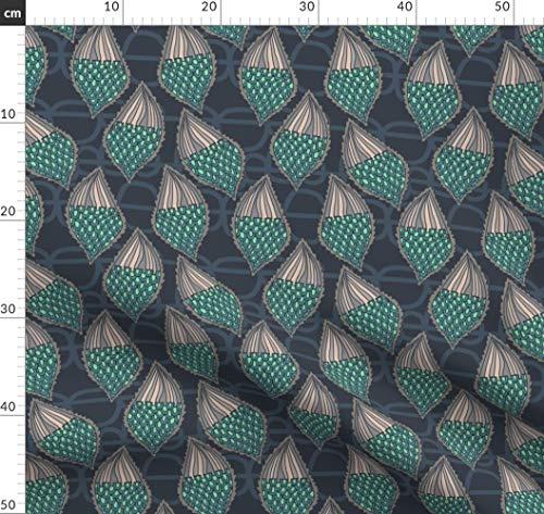 Samen, Schoten, Seidenpflanze, Schmetterling Stoffe - Individuell Bedruckt von Spoonflower - Design von Kheckart Gedruckt auf Bio Baumwollsatin