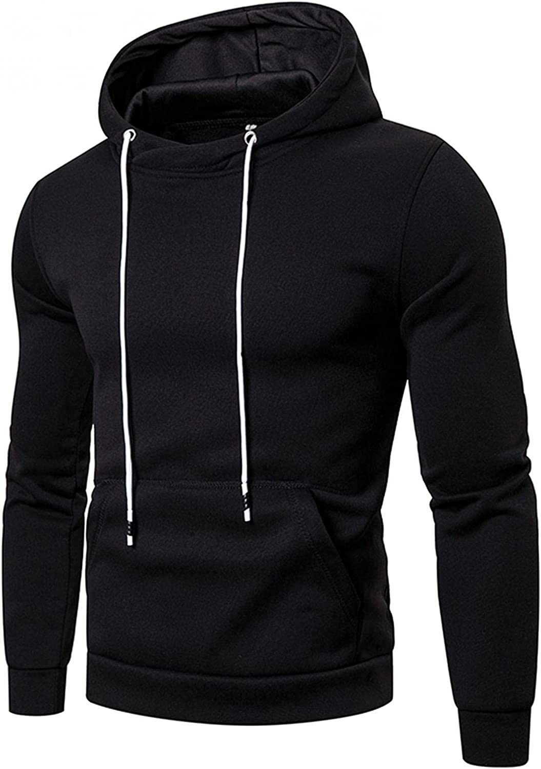 VEKDONE Mens Fashion Athletic Hoodies Bodybuilding Tapered Slim Fit Sport Sweatshirt Casual Solid Color Fleece Pullover Tops