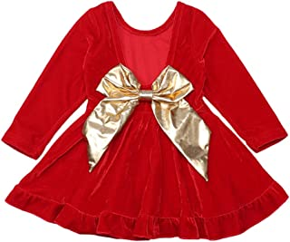 Seyouag Toddler Baby Girls Red Dress Large Bowknot Velvet Backless Party Dresses