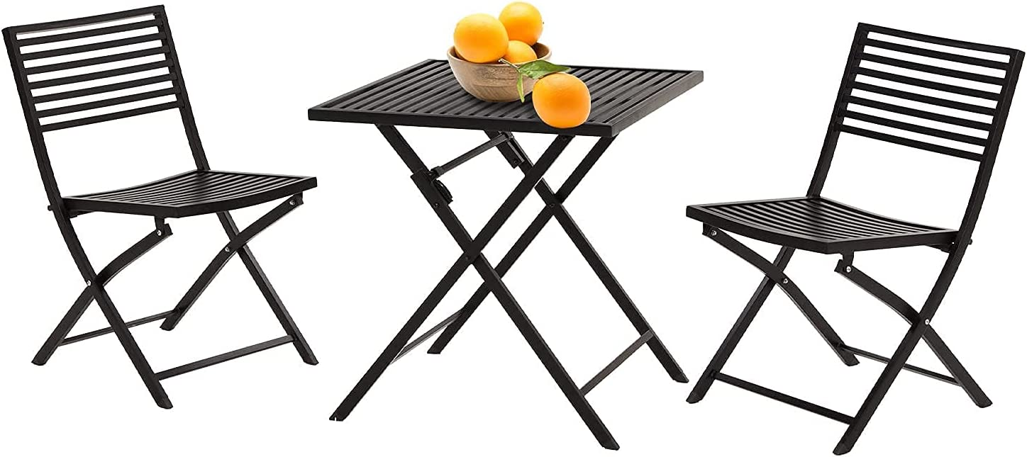 VICLLAX 3-Piece Patio Metal Max 63% OFF Bistro Table Chairs and Set- Outdoor Max 65% OFF