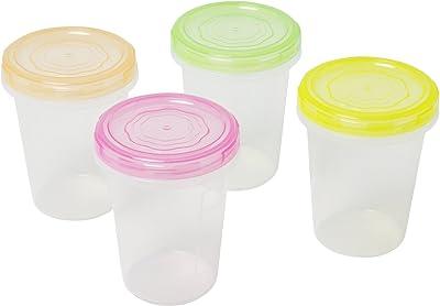 サンコープラスチック 食品 保存容器 エブリーパック 丸型 No.1 深型 4個組 カラフル
