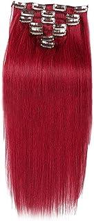 BOBIDYEE ヘアエクステンション人毛16インチ7個70gダブル横糸ソフトストレートヘア用女性かつら赤いかつら (色 : #BURG)