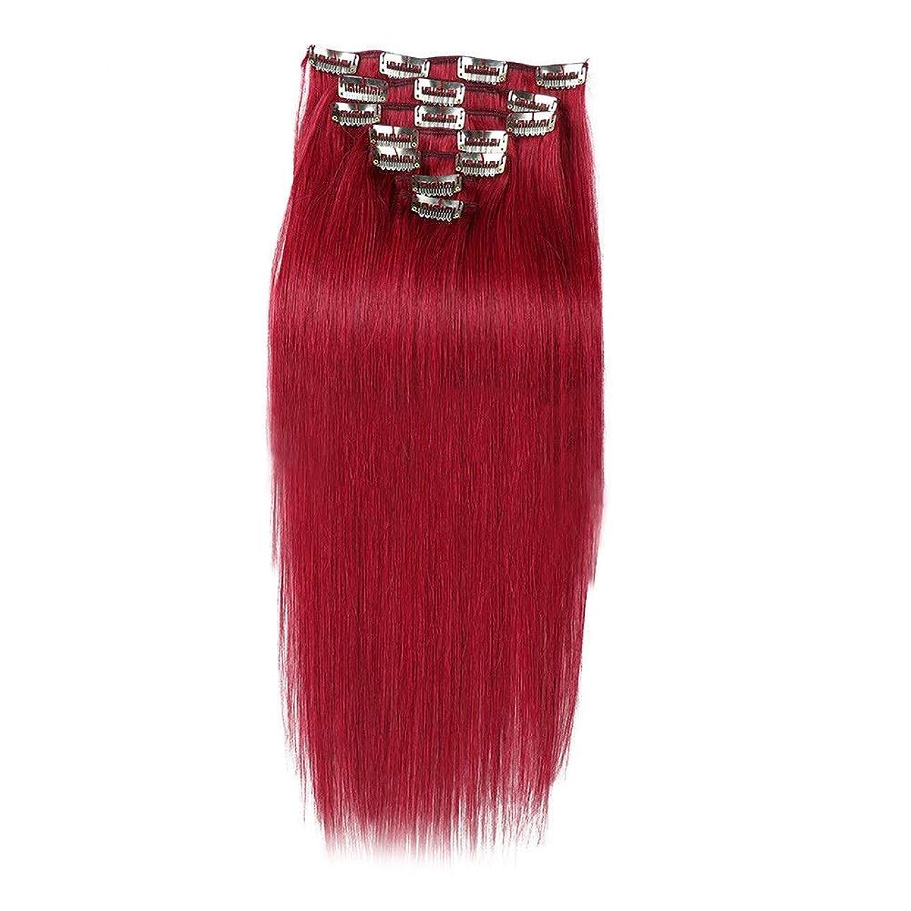 礼拝衛星セラーYESONEEP ヘアエクステンション人毛16インチ7個70gダブル横糸ソフトストレートヘア用女性かつら赤いかつら (Color : #BURG)