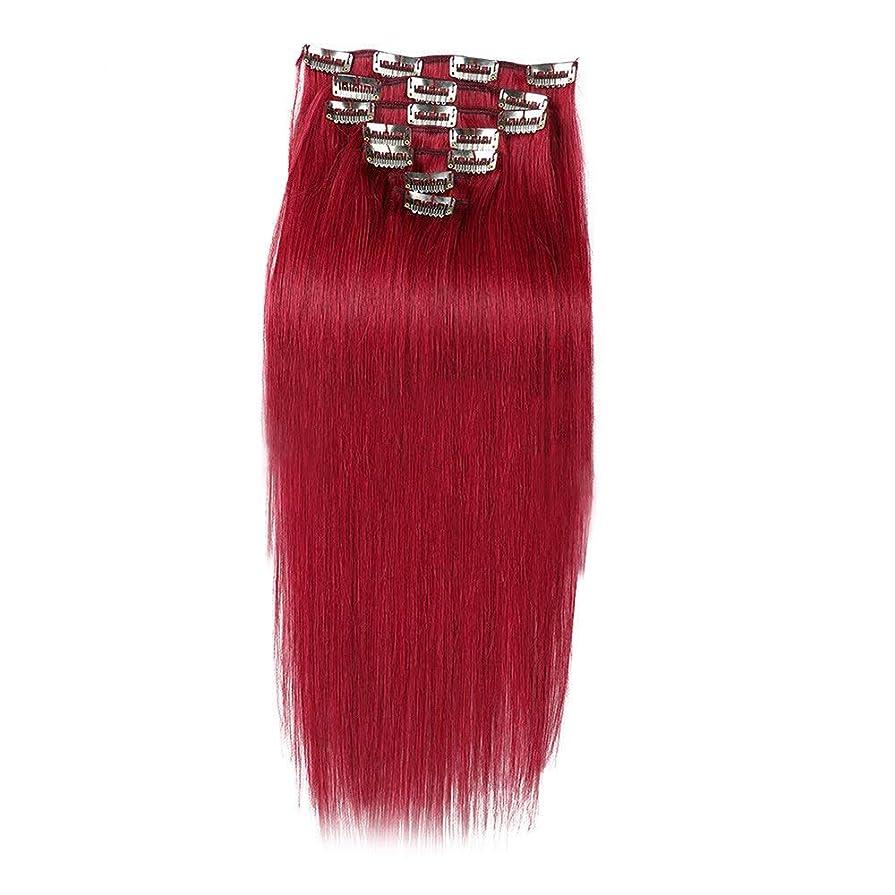 アクティブ伝染病日光YESONEEP ヘアエクステンション人毛16インチ7個70gダブル横糸ソフトストレートヘア用女性かつら赤いかつら (Color : #BURG)