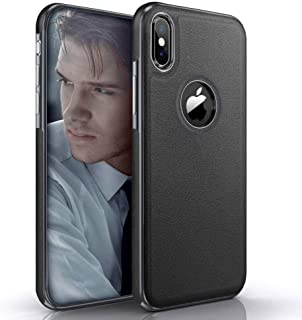 LOHASIC iPhone X Case/iPhone Xs Case, Slim Leather Luxury PU Soft Flexible Hybrid Bumper Non-Slip Grip Shockproof Anti-Scratch Full Body Protective Cover Cases for Apple iPhone X 10 XS 5.8