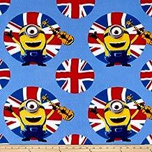 Fabric & Fabric QT Fabrics Despicable Me Fleece Minions UK Guitars Blue, Gold/Red/Black