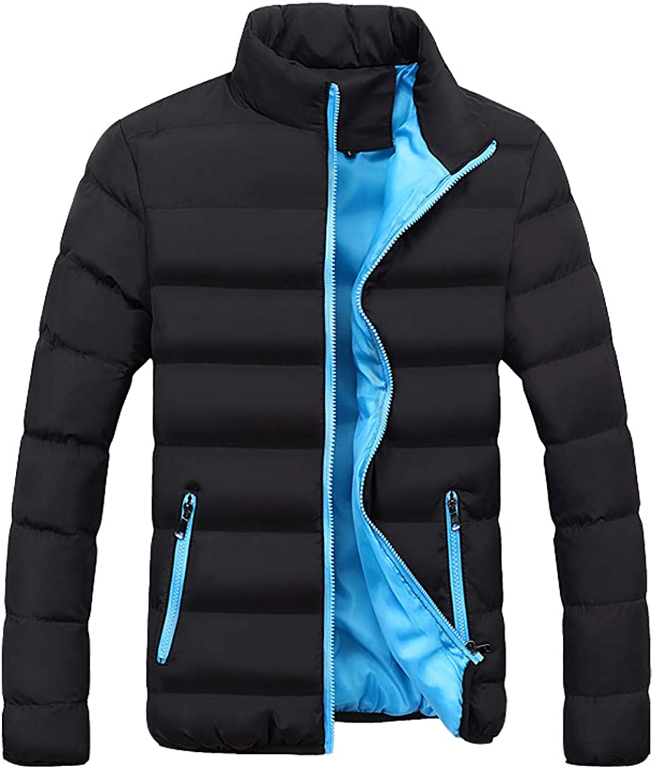 S&S-Men Warm Winter Candy Colors Contrast Lining Thicken Warm Puffer Compressible Jackets (Small, Blue-1)