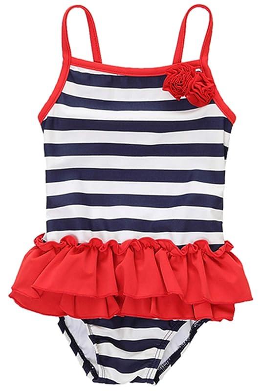 有名しつけ包括的チャームリーク女の赤ちゃんフリルワンピース水泳衣装ストライプスカート水着