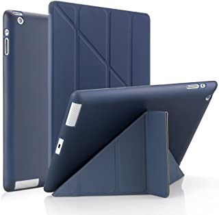 iPad 9.7 2 3 4 Origami Lightweight Case - 2nd Generation Case / 3rd Generation Case / 4th Generation Case - Slim Multi-Angle Standing Cover - Auto Sleep Wake, Scratchproof, Shockproof (Navy Blue)