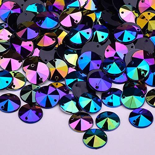 10 mm czerwone AB Rivoli kryształy górskie płaskie plecy kryształ aplikacja przyszyć kamienie szycie okrągłe koraliki do ubrań rzemiosła, BlackAB