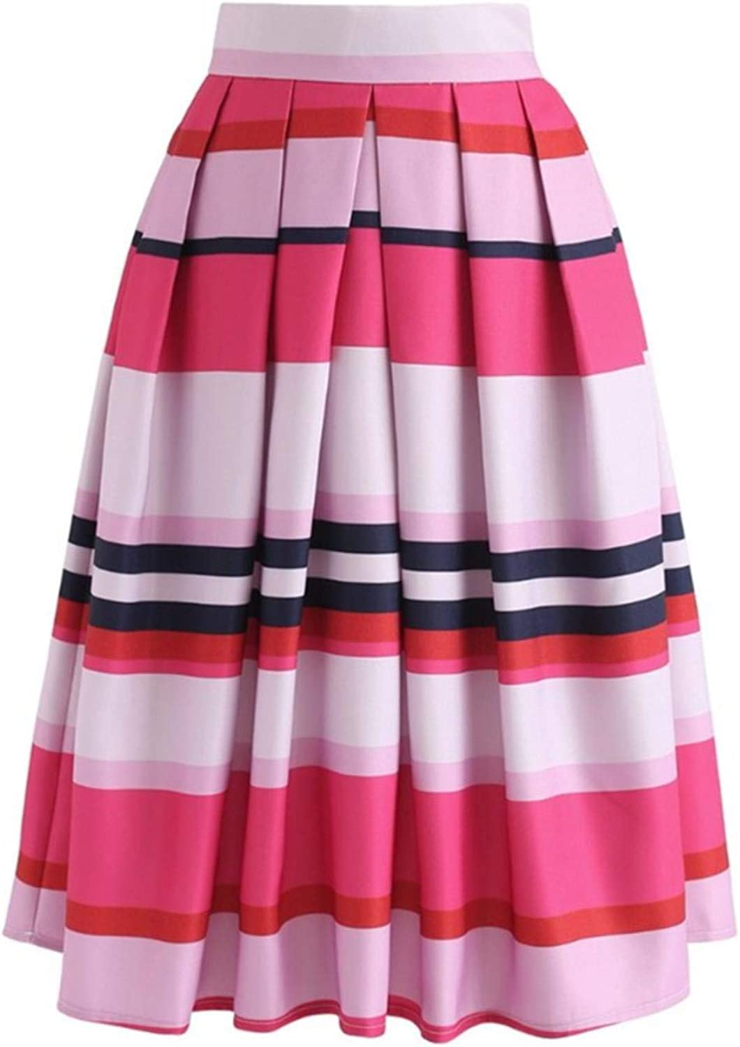 XiDpyQ Ladies Vintage color Striped Geometric Print Pleated Midi Skirt