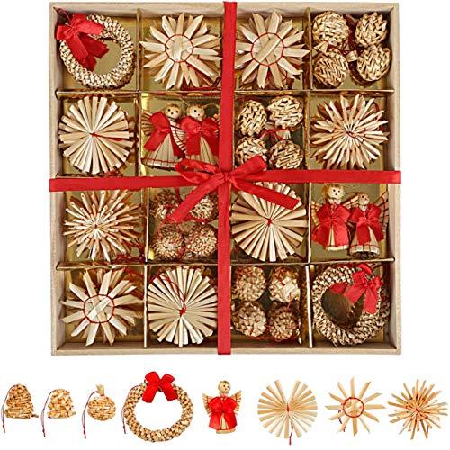 LIHAO クリスマスツリーオーナメント クリスマス飾り 麦わら細工 ストロー わら 雪花 てるてるぼうず 天使 花輪 装飾品 56点セット クラフト クリスマスプレゼント ギフト