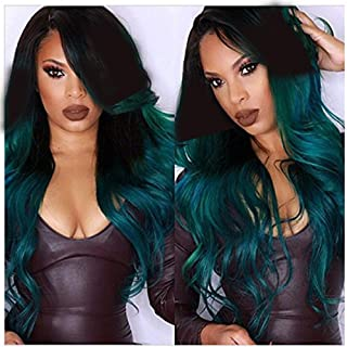 S-noilite Women Wigs 28 Inch Long Wavy Synthetic Ombre Wig with Wig Cap for Daily Party Cosplay - Black-Green