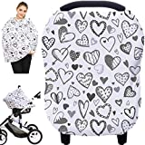 Baby Car Seat Covers, Nursing Covers, Carseat Canopy, Boys Girls Privacy Breastfeeding Cover (Grey Heart)