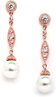 Mariell Rose Gold Vintage Wedding Luxe Simulated Pearl Drop Earrings for Brides with Art Deco Filigree CZ