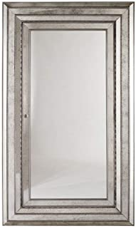 Hooker Furniture Melange Glamour Floor Mirror w/Jewelry Armoire Storage, Champagne-Colored Antique Silver and Gold