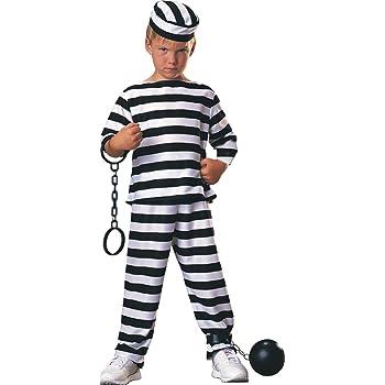 Disfraz de Preso para niño, presidiario a rayas, infantil 5-7 años ...