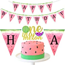 Watermelon 1st Birthday Decorations - One in a Melon Cake Topper Watermelon Happy Birthday Banner