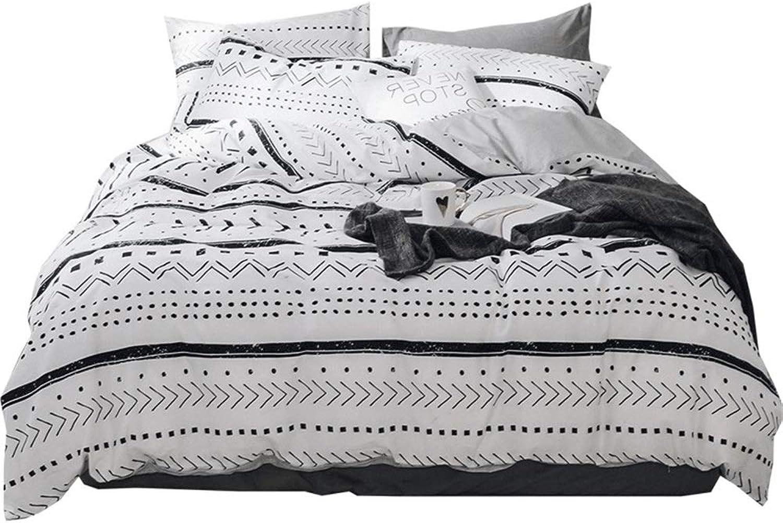 Cozydecor Queen Duvet Cover Set for Teens Boys Girls 100% Cotton Arrow Bedding Sets with Zipper Ties White Geometric Chevron Dots Pattern 3 Pieces(1 Duvet Cover + 2 Pillow Shams) Soft Durable