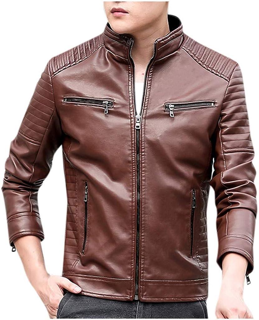 FIRERO Men Winter Leather Jacket Zipper Biker Motorcycle Long Sleeve Coat