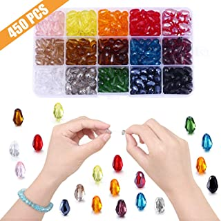 Teardrop Glass Beads Vertical Hole, Lucky Goddness 450pcs 8x11 mm Faceted Straight Hole Shape Crystal Spacer Beads, Rainbow Colorful Beads Assortment Wholesale for DIY Handcrafted Bracelet Necklace