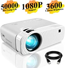 """Mini Projector, DracoLight 3600 Lumens Portable Projector Ideal 180"""" Display 50000 Hours Lamp Life LED Video Projector Support 1080P, Compatible with USB/HD/SD/AV/VGA for Home Theater (White)"""