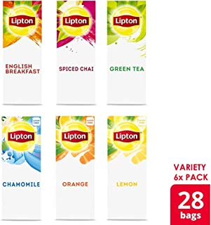 Lipton Black, Green and Herbal Variety Pack Enveloped Hot Tea Bags Made with Tea Leaves Sourced from Rainforest Alliance Certified Farms, 28 count, Pack of 6