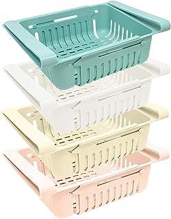 joeji's Kitchen Lot Boite de Rangement frigo (x 4) | Rangement Cuisine & frigo rétractable en 4 Couleurs (Bleu, Blanc, Ros...