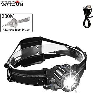 WARSUN Headlamp Flashlight,Super Bright,Adjustable focus,Waterproof,Waving control,Light weight & Comfortable Headlight for car repairing,camping,hiking