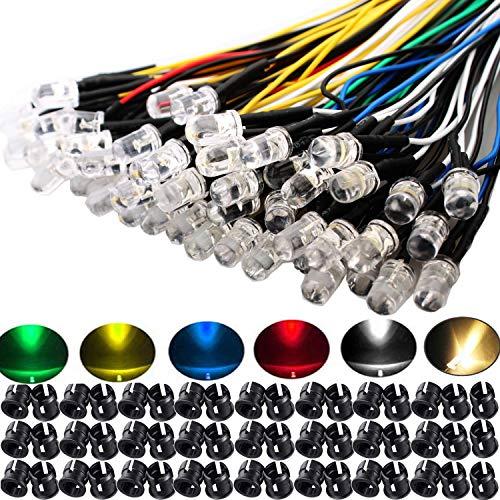 RUNCCI-YUN 60Pcs 5mm Leds mit 20cm Kabel, DC 12V Vorverdrahtetes Licht, Vorverdrahtete LED-Dioden Licht (Rot, Gelb, GRÜN, Weiß, Warmweiß, Blau) + 60Pcs 5mm LED Montageringe Plastik