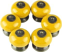 Larcele Vintage kastknop deurknop keramische handgrepen voor lade, rond, 6 stuks CTLS-01 (geel)