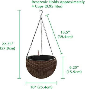 Self-Watering Hanging Planter Baskets with Water Reservoir & Fill Indicator, Espresso Brown, Self Watering Round Resin Hy