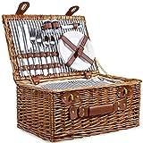 SatisInside Upgraded Insulated Deluxe 16Pcs Kit Wicker Picnic Basket Set Hamper for 2 People - Reinforced Handle - Grey