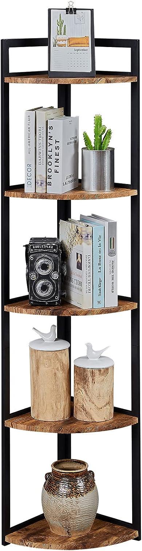 Superjare Corner Shelf, Industrial 5 Tier Wood Wall Corner Bookshelf with Metal Frame, Corner Storage Rack Shelves Display Plant Flower, Stand Bookcase for Home, Office, Kitchen - Rustic Brown