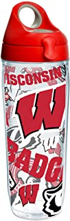 Tervis Wisconsin Badgers All Over Water Bottle With Lid, 24 oz, Clear